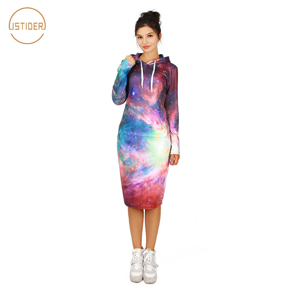 ISTider Beautiful Colorful Smoky Starry 3D Hoodies Dress Space Galaxy Sweatshirt Dresses Women Winter Long Sleeve Slim Dress