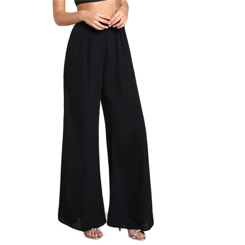 Sheinside Black Box Pleated Wide Leg Pants 2018 Autumn Mid Waist Zipper Fly Elegant Trousers Women's Work Wear Casual Pants