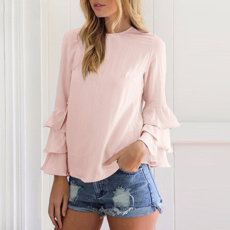 Women Autumn Elegant Ladies Solid Casual Tops Ruffles Long Sleeves O-Neck Butterfly Sleeve Blouse Blusas Femininas 4 Colors