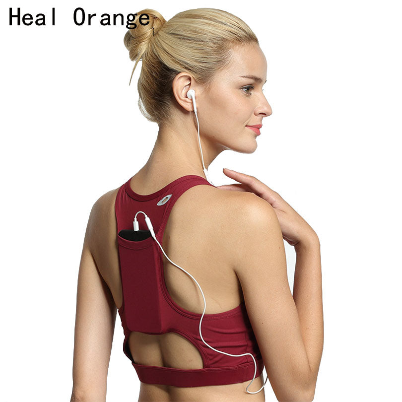 HEAL ORANGE Back Pocket High Quality Shock Sports Bra.