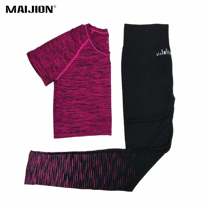 MAIJION 2019 Women Yoga Running Sets Quick Dry Breathable Sport T Shirts & Pants Jogging Sets Gym Sport Suit Running Tracksuit