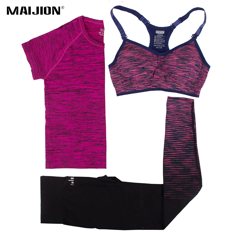 MAIJION Women Running Sets Yoga Bra&Tops &Pants Sport Suit Quick Dry Fitness Gym Yoga Set Workout Sportswear Running Clothing