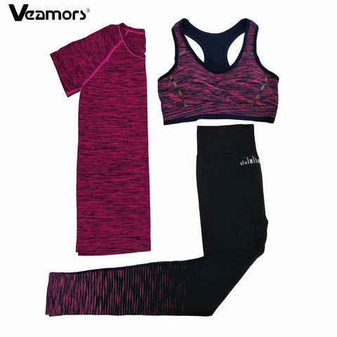 VEAMORS 3 Pcs Women Fitness Yoga Sets Running Yoga T-Shirt Tops & Bra & Pants Sport Suit Gym Clothes Workout Training Set