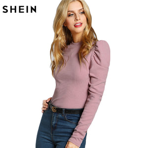 SHEIN Elegant Women T shirt Clothes Women Pink Long Sleeve O Neck Tee Shirts Slim Fit Puff Sleeve Rib Knit T-shirt