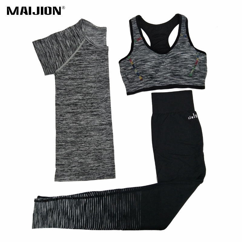 MAIJION Women Quick Dry Yoga Sets for Gym Running Yoga T-Shirt Tops & Sports Bra Vest & Fitness Pants Workout Sports Suit Set