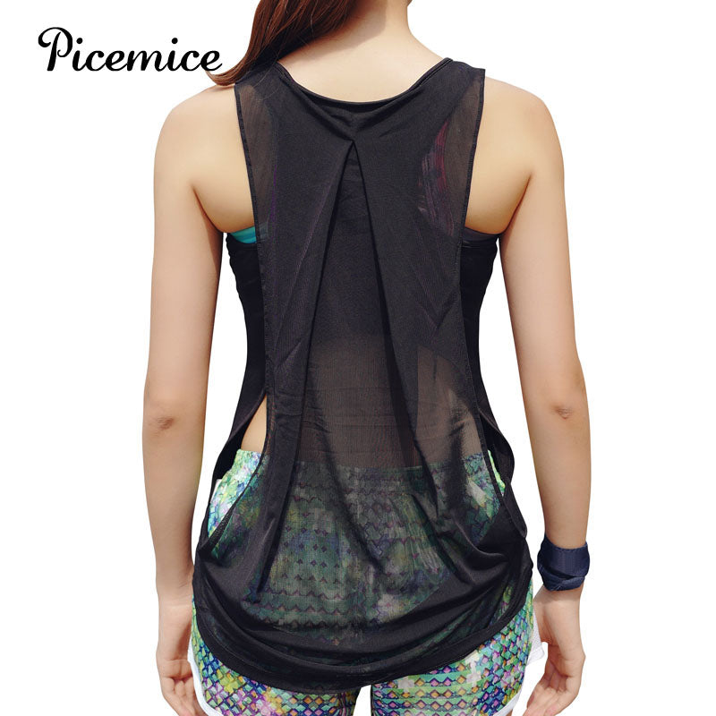 Picemice Women's Sports Vest Hollow-out Sexy Fitness Yoga Shirt Fitting Elastic Sleeveless Quick-drying Sports Clothing Yoga Top