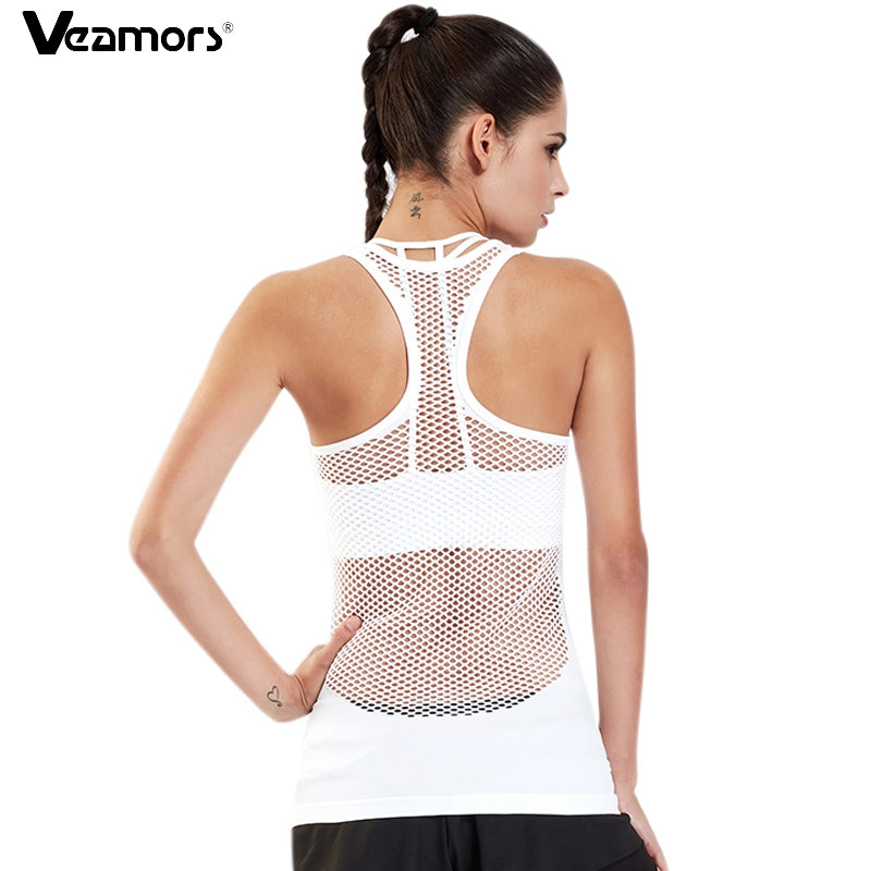 VEAMORS Women Yoga Shirts Tops Hollow Out Breathable Fitness Sport T Shirts Gym Running Vest Tank Tops Workout Female T-shirt
