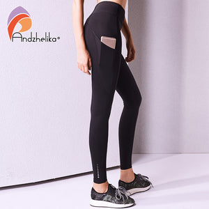 Andzhelika 2018 Yoga Pants Women Tight Pants Breathable Yoga Pants Elastic Sport Leggings Workout Running Leggings Fitness Pants