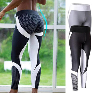 NEW Women Sports Yoga Print Leggings fitness Elastic Legging Gym Fitness Jogging Trousers Slim Black White Pants Plus Size M-XL