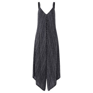 ZANZEA Long Black Rompers Womens Jumpsuit Sexy  Casual Striped