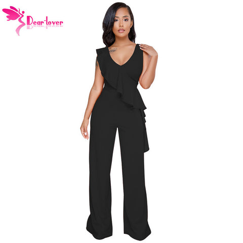 Dear Lover Black Ruffle Rompers Office Work Wear Asymmetric Trim Sleeveless Wide Leg Jumpsuits Women Long Pants Casual LC64417
