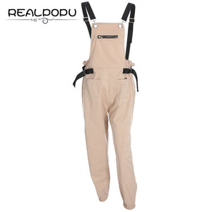 Realpopu Khaki Rompers Womens Jumpsuit Long Elegant Zipper Pockets Sleevlesee Adjusted Strap High Waist Cotton Fashion Summer