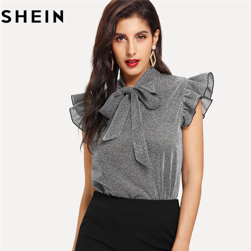SHEIN Womens Gray Tied Neck Ruffle Sleeve Summer Casual Tops And Blouses 2020 New Elegant Office Lady Party Glitter Top Clothing