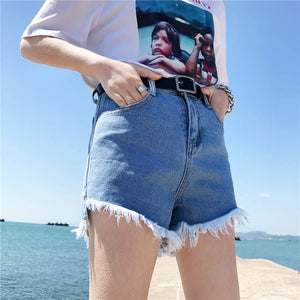 Summer Denim Shorts Frayed Ripped High Waist Irregular 2019 Summer Women Casual Loose Sexy Street Wear Hot Jeans Shorts B83004F