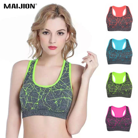 MAIJION Quick Dry Yoga Shirts Tops, Women Wirefree Push Up Padded Sports Bra, Seamless Stretch Vest Yoga Fitness Running Tops