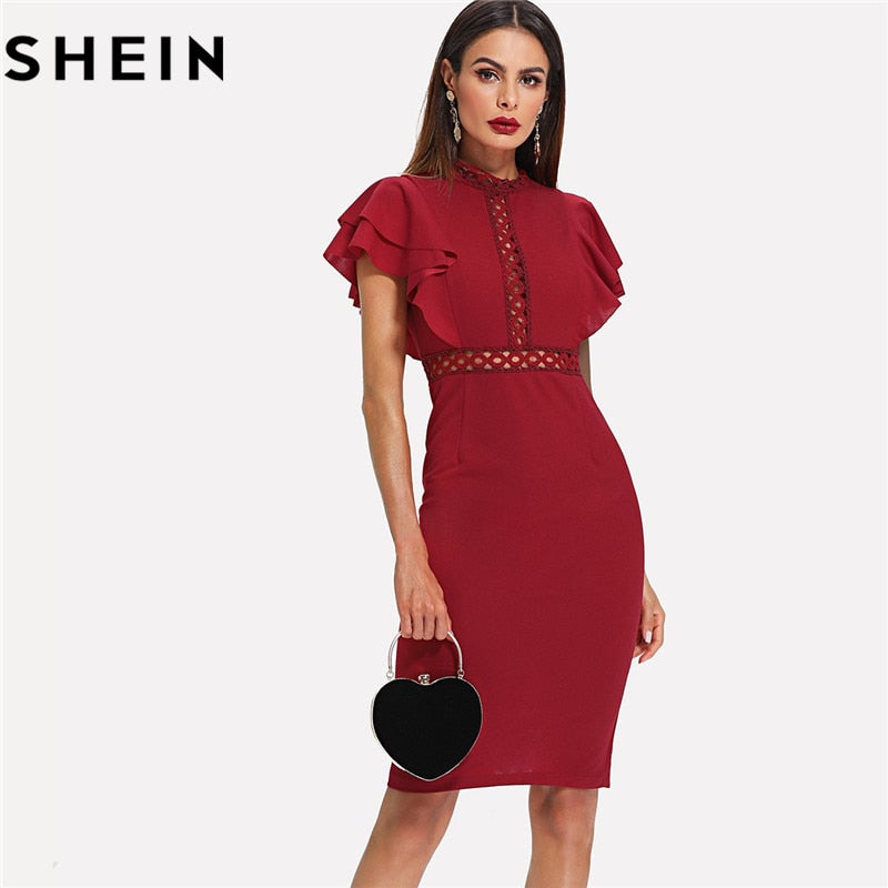 SHEIN Burgundy Red High Waist Vintage Ruffle Sleeve Lady Bodycon Dress 2019 Elegant Retro Party Lace Eyelet Hem Slit Dresses New