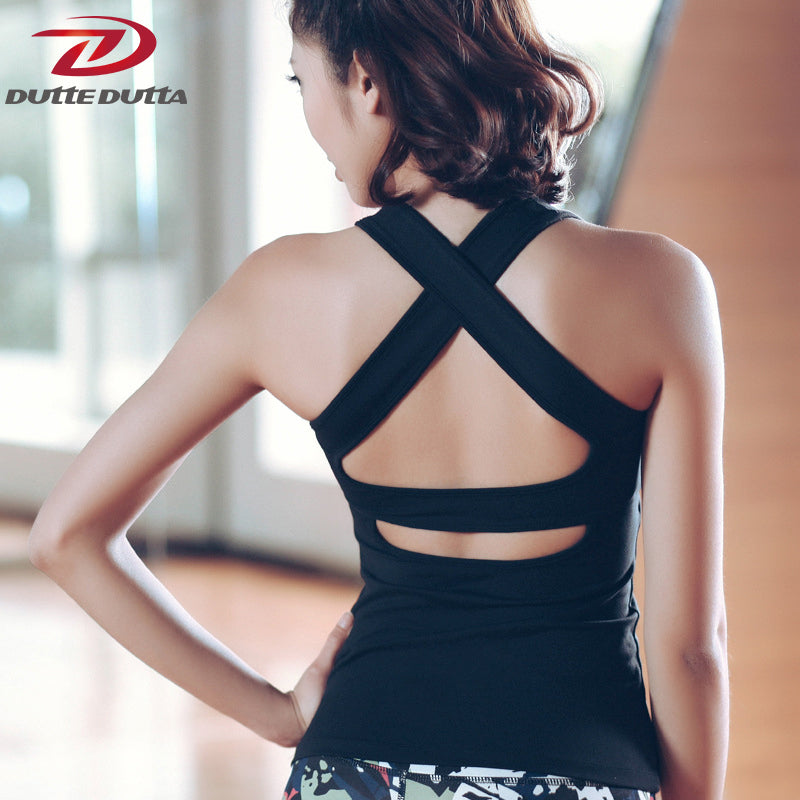 Sports Top Running Yoga T Shirts For Women Slim Workout Activewear Fitness Cross Back Gym Tank Dry Fit Tight Jerseys Clothing