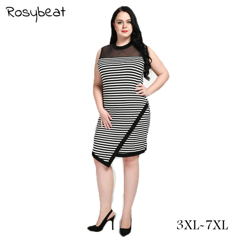 Plus Size 7xl Dresses For Women Black And White Striped Dresses Casual Elegant Sheath Slim Dress See Through Vestidos big Size