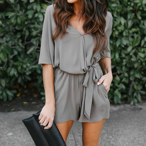 Women Elegant Summer V-Neck Jumpsuits Rompers S