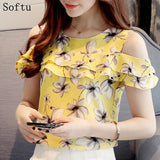 Softu Women Fashion Off Shoulder Short Sleeve Blouses Print Floral Chiffon Shirts Casual Ladies Blusas Women Tops