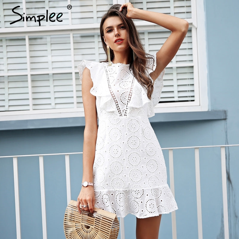 Simplee Embroidery cotton white dress women Ruffle sleeve high waist short dress 2020 Keyhole back casual dress female vestidos