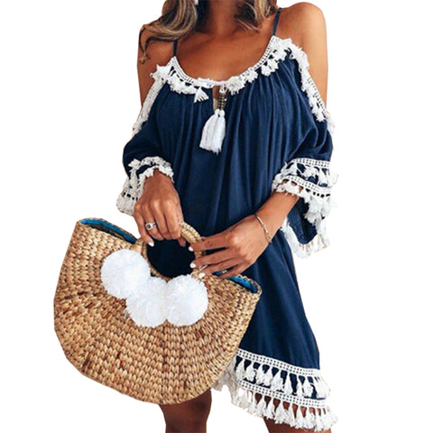Female Spaghetti Strap Boho Dress Plus Size 5XL Summer Loose Beach Sundress Backless