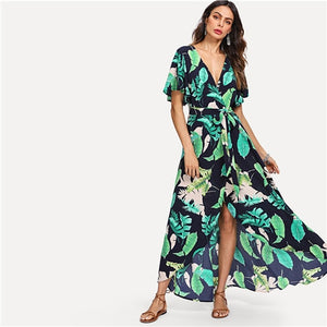 SHEIN Multicolor Vacation Boho Bohemian Beach Jungle Leaf Print Self Belted Wrap High Waist Maxi Dress Summer Women Sexy Dress
