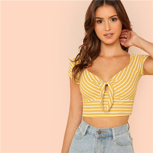SHEIN Ginger V Neck Rib Knit Striped Casual Short Top Tees Cotton 2020 New Women Short Sleeve Knot Front Summer Crop T-shirts