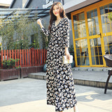 EFATZP High Quality Newest Fashion 2018 Spring Runway Designer Dress Women's Elegant Print Slim V-neck 3/4 Sleeves Maxi Dresses
