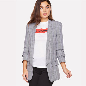 Sheinside Grey Shawl Collar Workwear Blazer Office Ladies Pocket Patched Plaid Longline Regular Fit Women Summer Elegant Blazer