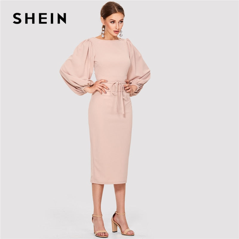 SHEIN Pink Elegant Tie Waist Boat Neck Bishop Long Sleeve Solid Dress 2019 New Women Mid-Calf Belted Party Dresses