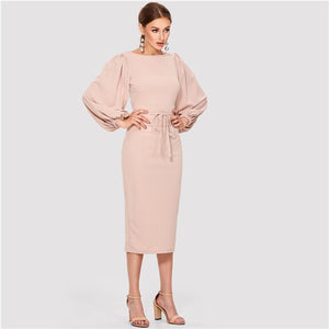 SHEIN Pink Elegant Tie Waist Boat Neck Bishop Long Sleeve Solid Dress 2020 New Women Mid-Calf Belted Party Dresses