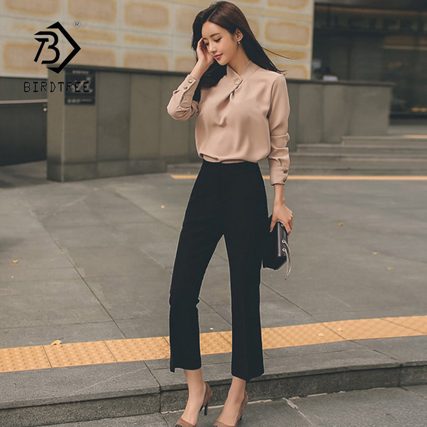 New Arrival Women's 2 Piece Khaki Chiffon Lantern Sleeve Shirts & High Waist Slim Pants Elegant Office Lady Blazer Suit S86406F
