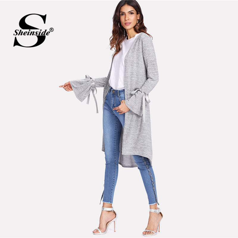 Sheinside Grey Long Sleeve Casual Cardigan Office Ladies Flounce Sleeve Stretch Bow Ribbon 2018 Elegant Women Autumn Coats