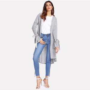 Sheinside Grey Long Sleeve Casual Cardigan Office Ladies Flounce Sleeve Stretch Bow Ribbon 2020 Elegant Women Autumn Coats