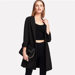 Sheinside Black Long Sleeve Longline Female Workwear Blazer Office Ladies Plain Regular Fit Minimalist Women Autumn Elegant Coat