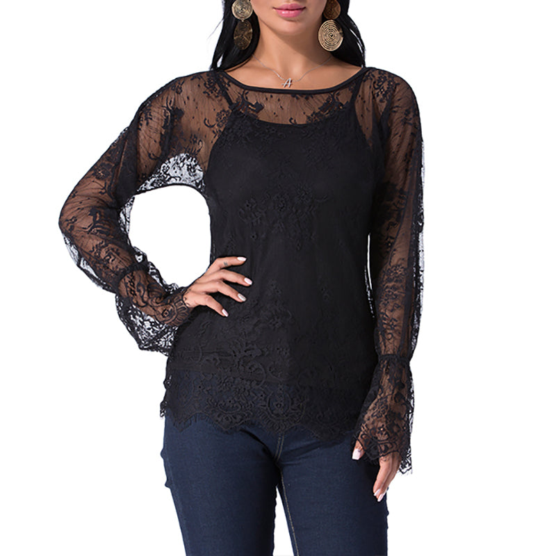 Women Sexy Lace See-Through Blouses Shirts 2019 Summer Tops+Camis Elegant Two Piece Set Long Sleeve Beach Wear Blusas Plus Size