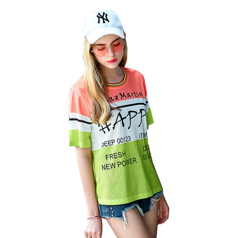 WKOUD Women's T-shirt Color Match Letters Printed Tops Tees Summer Hot Short Sleeve T Shirts Female Casual Wear T-shirts T8152