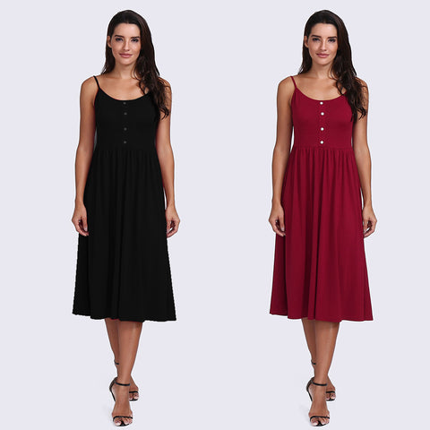 Women's Casual Mini Dress Skater Pleat Dress Button Placket Sling Dress