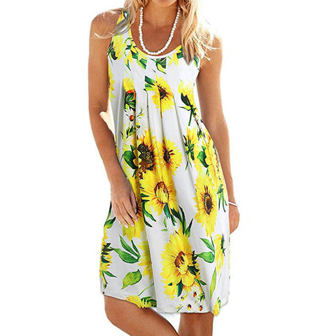 Women Summer Printing Sleeveless Evening Party Dress Beach Vest Dress