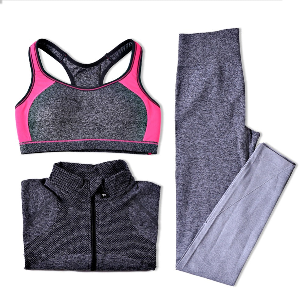 B.BANG  Breathable Sports Bra + Pants + Shirt Yoga Set.