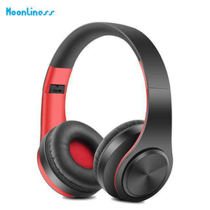 Portable Wireless Headphones with Mic Vulcan Mart white red