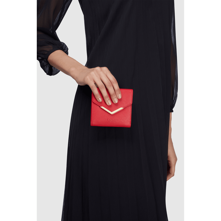 Diana Red Small Vegan Sustainable Bifold Wallet