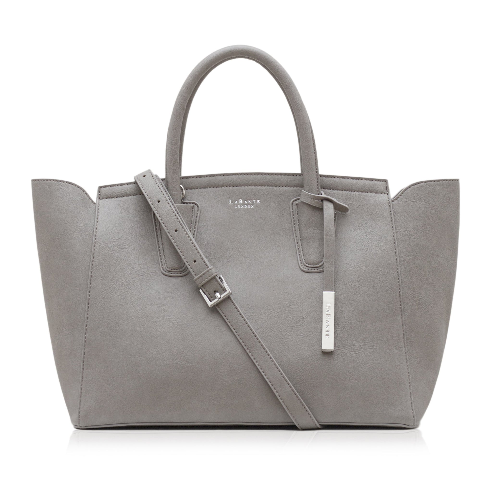 Grey - Grant Vegan structured tote bag, non leather tote bag