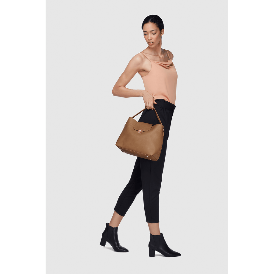 Sara Taupe Vegan Sustainable Hobo Bag