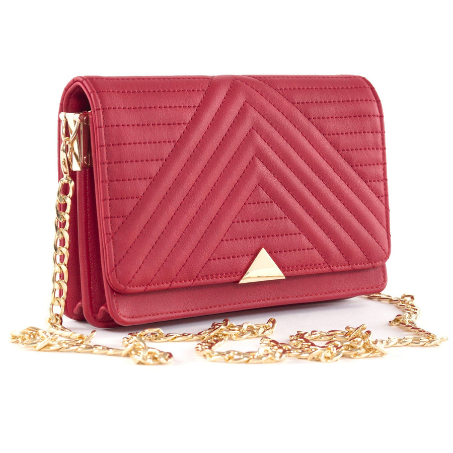 Serin Red Quilted Vegan Across Body Bag