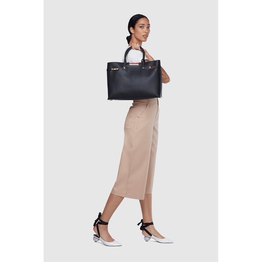Black - Windsor vegan shoulder bag, Big tote bag for work