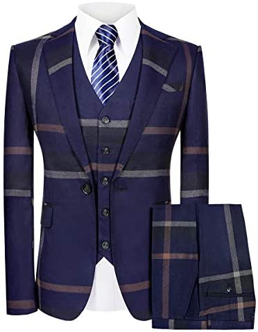 Plaid Slim Fit 3-Piece One Button Suit