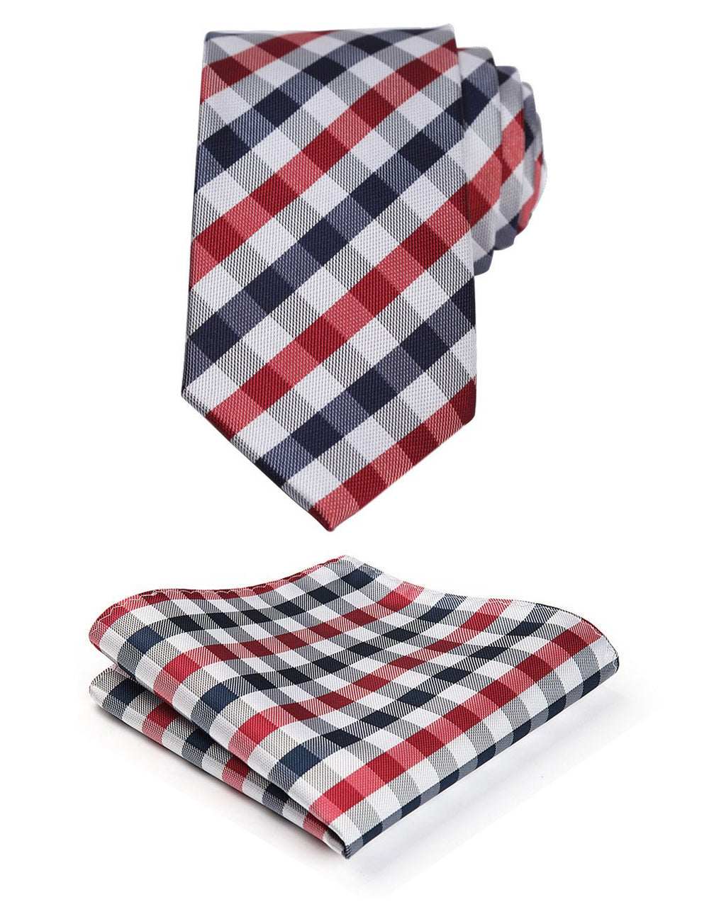 Plaid Slim Necktie & Pocket Square