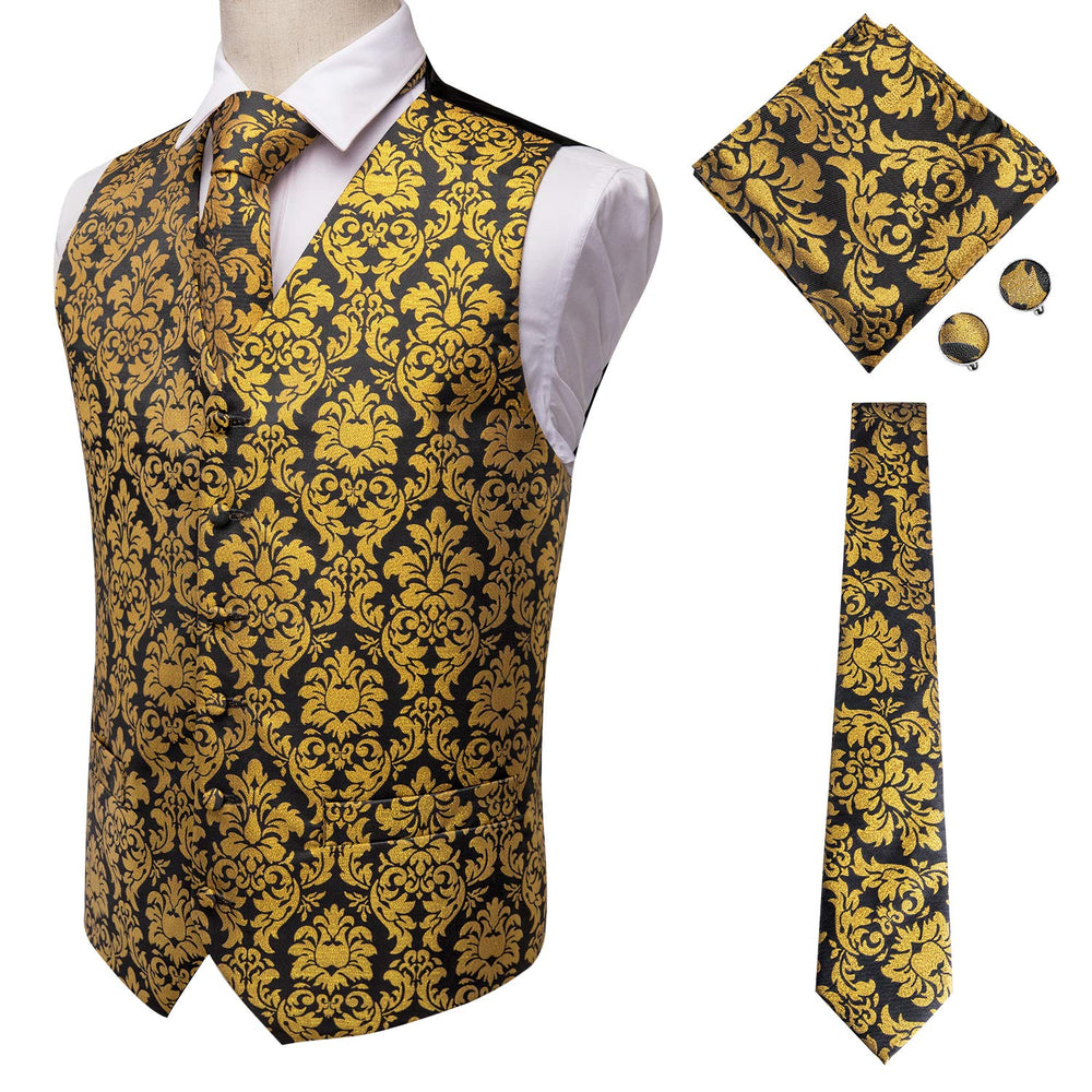 Black and Gold Tie Set With Vest